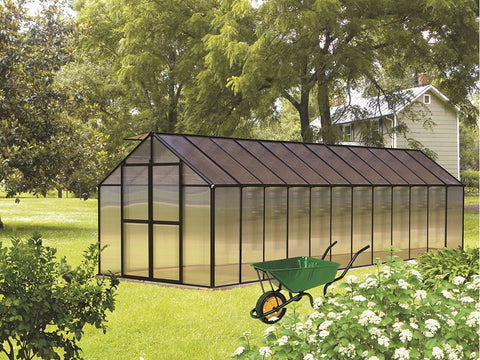 Image of Black Riverstone Monticello Greenhouse 8x24 - Premium Package in a garden