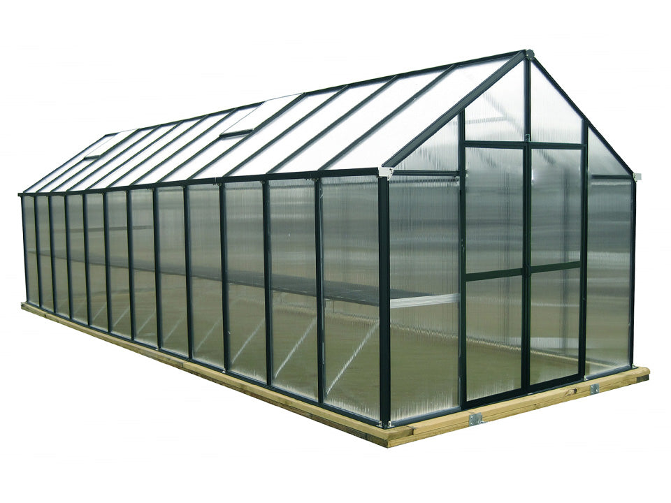 Black Riverstone Monticello Greenhouse 8x24 - Premium Package with white background