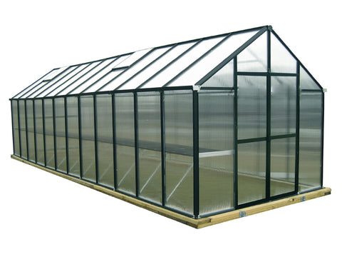 Riverstone Monticello Greenhouse 8x24 in black with a white background
