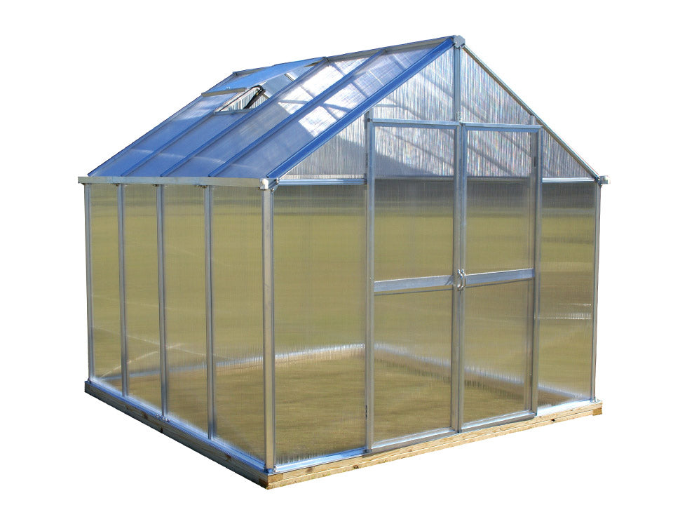 Silver Riverstone Monticello Greenhouse 8x8 with white background