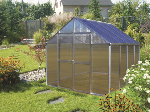 Silver Riverstone Monticello Greenhouse 8x8 in a garden