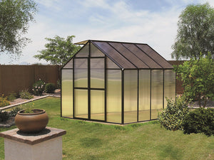 Black Riverstone Monticello Greenhouse 8x8 - Premium Package in a garden