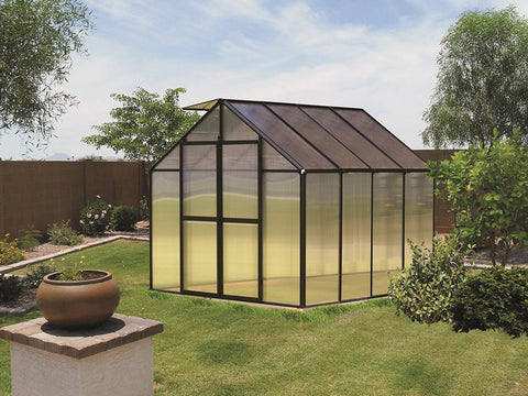 Image of Black Riverstone Monticello Greenhouse 8x8 in a garden