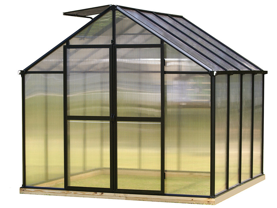 Black Riverstone Monticello Greenhouse 8x8 with a white background