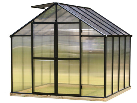Black Riverstone Monticello Greenhouse 8x8 with white background