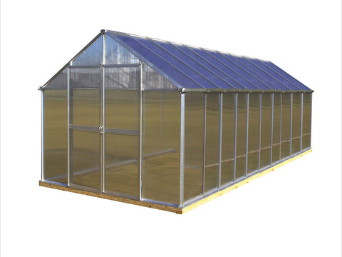 Image of Riverstone Monticello Greenhouse 8x20 - Premium Package with silver frame and white background