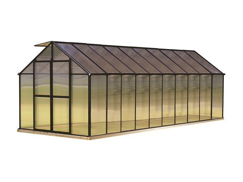 Riverstone Monticello Greenhouse 8x20 - Premium Package with black frame and white background