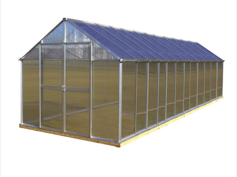 Image of Riverstone Monticello Greenhouse 8x24 in silver with a white background