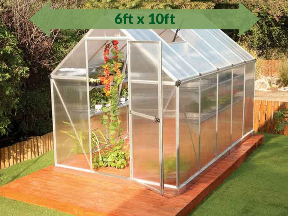 Palram Mythos 6ft x 10ft Hobby Greenhouse HG5010 - full view - green arrow on top with dimensions - in a garden