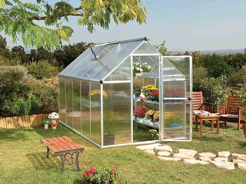 Palram Mythos 6ft x 10ft Hobby Greenhouse HG5010 - full view - in a garden
