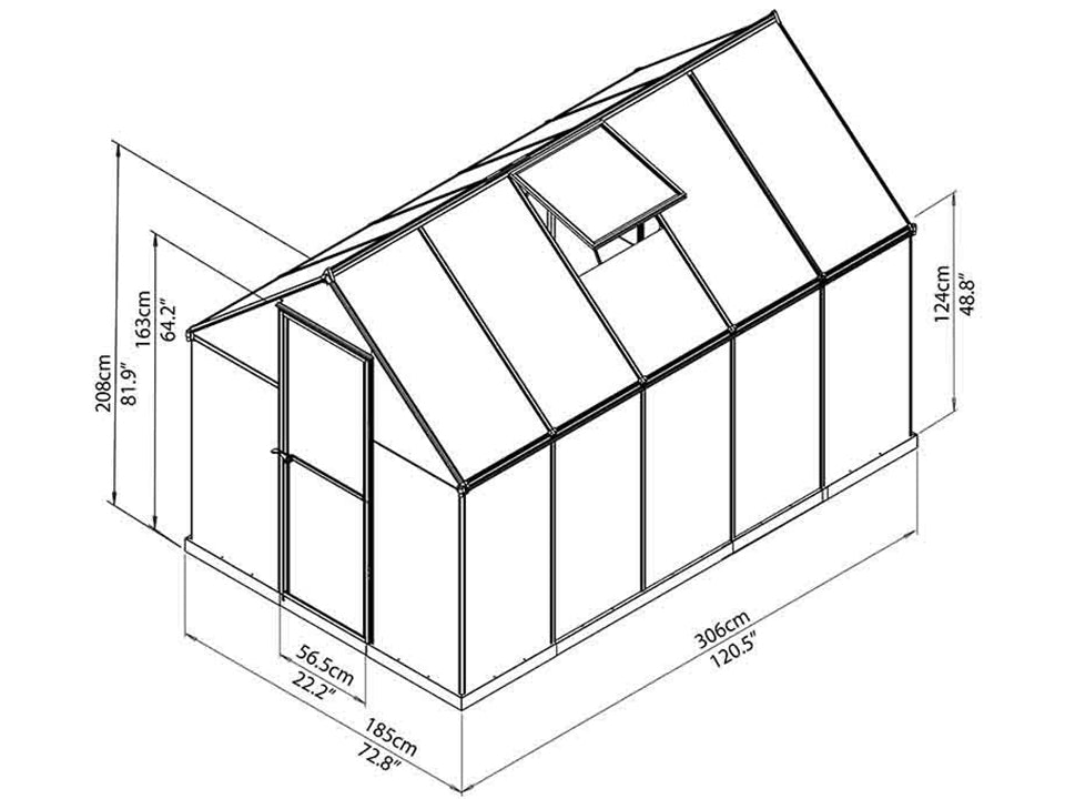 Palram Mythos 6ft x 10ft Hobby Greenhouse HG5010 - full view of framework with dimensions