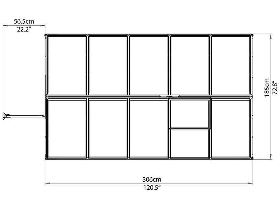 Palram Mythos 6ft x 10ft Hobby Greenhouse HG5010 - top view of framework with dimensions