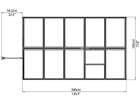 Image of Palram Mythos 6ft x 10ft Hobby Greenhouse HG5010 - top view of framework with dimensions