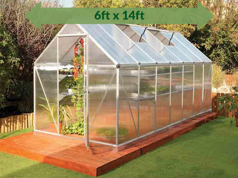 Palram Mythos 6ft x 14ft Hobby Greenhouse HG5014 - full view - green arrow on top with dimensions - in a garden