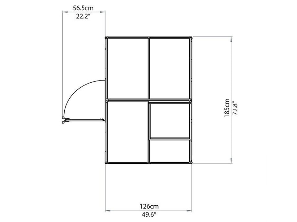 Palram Mythos 6ft x 4ft Hobby Greenhouse HG5005 - top view of framework with dimensions
