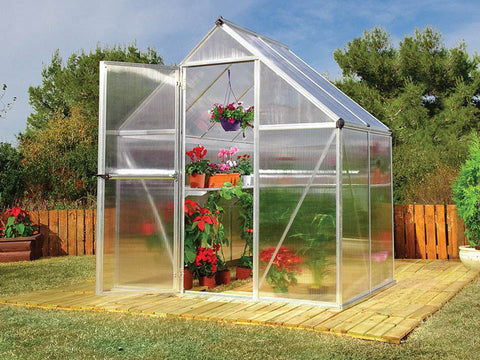 Image of Palram Mythos 6ft x 4ft Hobby Greenhouse HG5005 - full view - in a garden