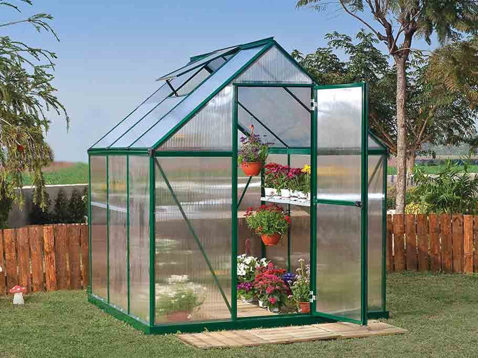 Palram Mythos 6ft x 6ft Hobby Greenhouse HG5006 - full view - in a garden
