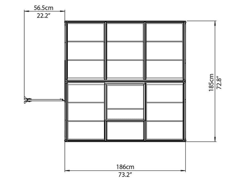 Palram Mythos 6ft x 6ft Hobby Greenhouse HG5006 - top view of framework with dimensions