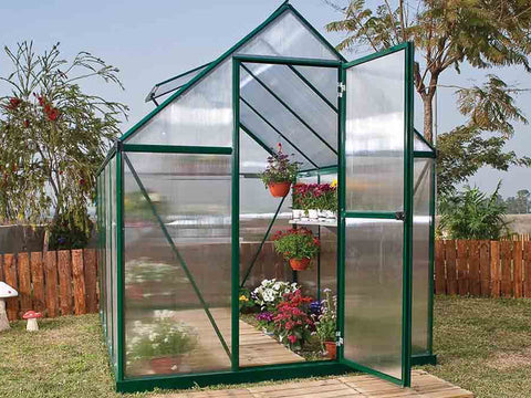Image of Palram Mythos 6ft x 8ft Hobby Greenhouse HG5008 - full view  - in a garden
