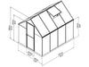 Image of Palram Mythos 6ft x 8ft Hobby Greenhouse HG5008 - full view of framework with dimensions