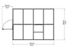 Image of Palram Mythos 6ft x 8ft Hobby Greenhouse HG5008 - top view of framework with dimensions