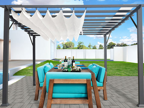Florence Grey Finish Pergola with a White Canopy in garden