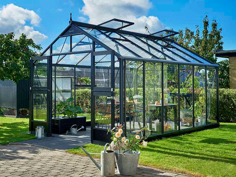 Juliana Premium Greenhouse 9ft x 14ft Anthracite 3mm safety glass. Open doors with plants inside