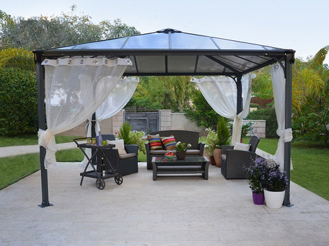 Image of Installed Palermo Gazebo Netting Set - 4 Piece - in a garden