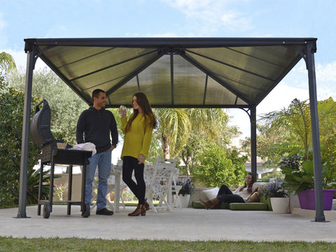 Palermo Hard Top Gazebo - cozy living room set up with people chatting