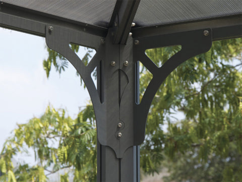Palermo Hard Top Gazebo - interior corner with with clips for curtains