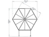 Image of Palram 7ft x 8ft Oasis Hex Greenhouse - HG6000 - top view  - framework with dimensions