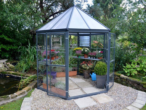Palram 7ft x 8ft Oasis Hex Greenhouse - HG6000 - in a garden