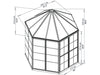 Image of Palram 7ft x 8ft Oasis Hex Greenhouse - HG6000 - framework with dimensions