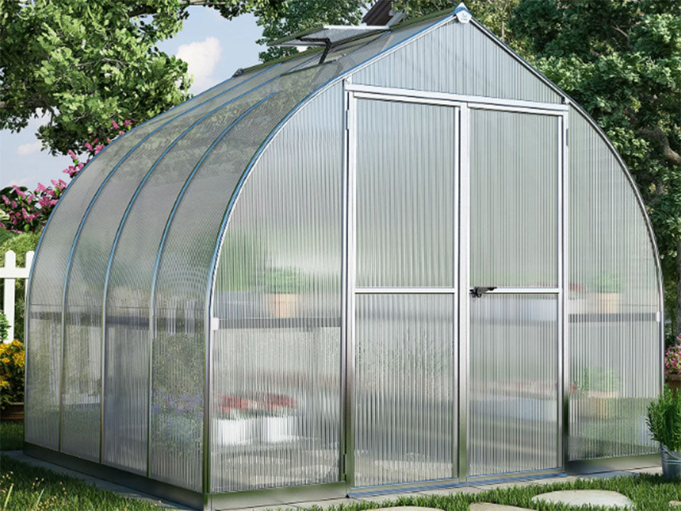 Palram Bella Silver 8ft x 8ft Hobby Greenhouse HG5408