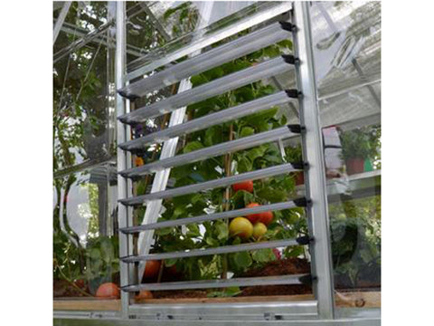Image of Open Palram Side Louver Window - attached to a greenhouse