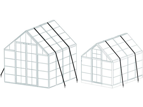 Image of Greenhouse framework with installed Palram Snap & Grow Anchor Kit - white background