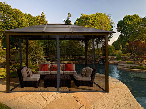 Madrid 10x13 Hard Top Gazebo with Closed Mosquito Netting