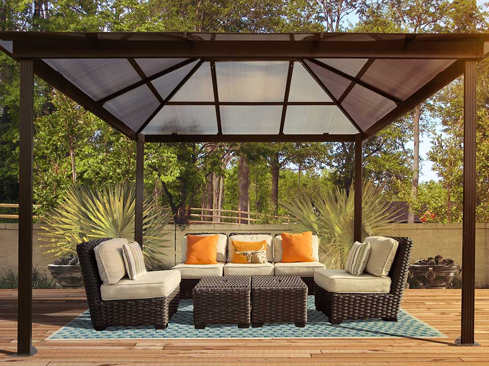 Paragon Madrid 10ft x 13ft Hard Top Gazebo Showing the interior roof