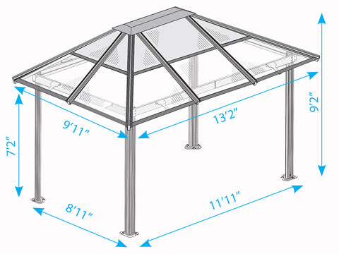 Paragon Madrid Hard Top Gazebo Dimensions