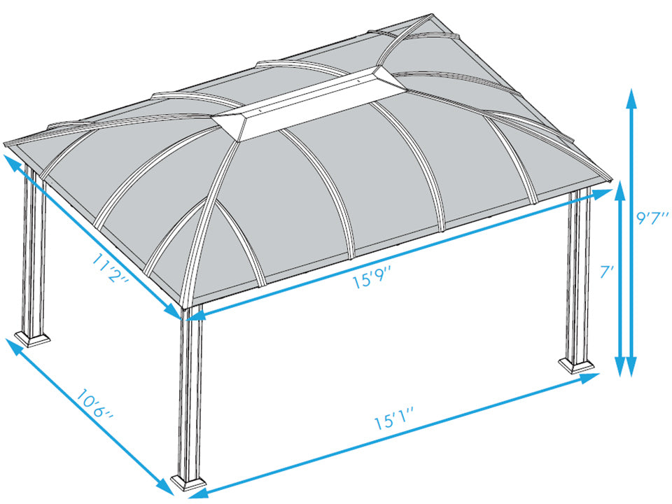 Paragon Sienna Hard Top Gazebo 12ft x 16ft with Sliding Screen Dimensions