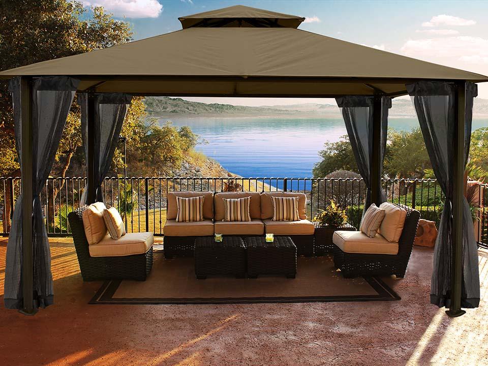 Santa Cruz Gazebo with Cocoa Sunbrella Top and Open Privacy Curtains and Open Mosquito Netting
