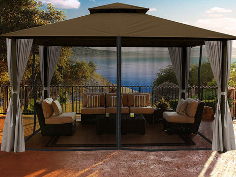 Santa Cruz Gazebo with Cocoa Sunbrella Top and Open Privacy Curtains and Closed Mosquito Netting