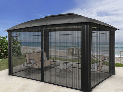 Paragon Sienna Hard Top Gazebo 12ft x 16ft with Closed Sliding Screen