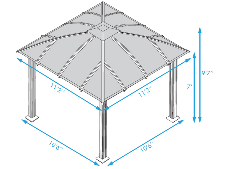 Paragon Sienna Hard Top Gazebo 12ft x 12ft with Sliding Screen Dimensions