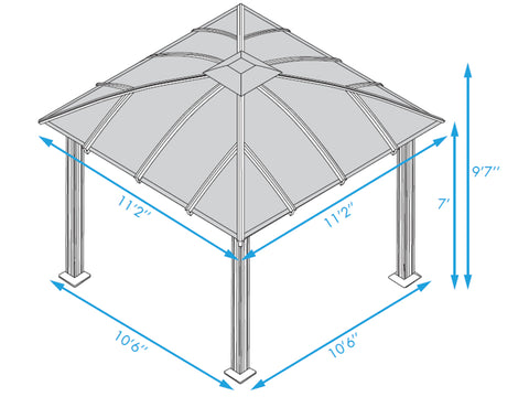 Image of Paragon Sienna Hard Top Gazebo 12ft x 12ft with Sliding Screen Dimensions