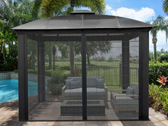 Paragon Sienna Hard Top Gazebo 12ft x 12ft with Sliding Screen