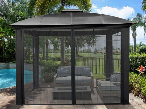 Image of Paragon Sienna Hard Top Gazebo 12ft x 12ft with Sliding Screen