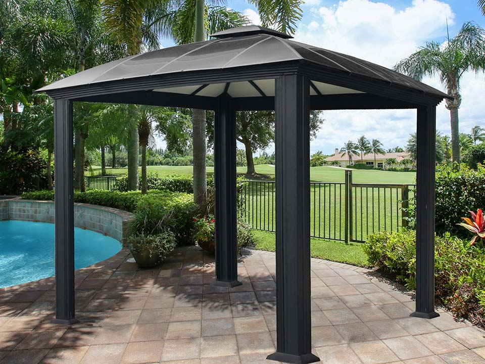 Paragon Sienna Hard Top Gazebo 12 ft x 12ft with Sliding Screen