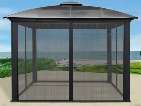Paragon Sienna Hard Top Gazebo 12 ft x 12ft with Sliding Screen and empty inside
