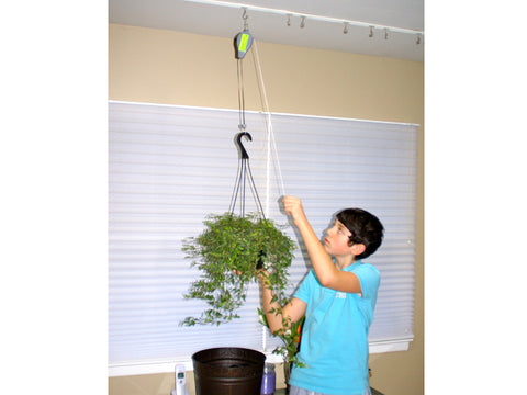 Image of A woman on the right side pulling the pulley of A woman on the left side holding Plant Caddie Hook with Plants